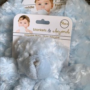 Plush Blue Rosette Security Blanket &Swaddle BagB2